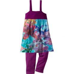 Sukienka + legginsy 3/4 (2 części) bonprix fiołkowy lila - wzorzysty. Fioletowe legginsy dziewczęce marki bonprix, na ramiączkach. Za 32,99 zł.