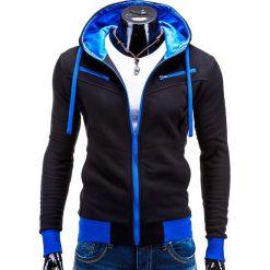 BLUZA MĘSKA ROZPINANA Z KAPTUREM AMIGO - CZARNO-NIEBIESKA. Czarne bluzy męskie rozpinane Ombre Clothing, m, z bawełny, z kapturem. Za 75,00 zł.