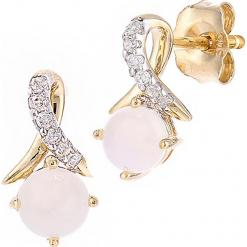 Złote kolczyki-wkrętki z diamentami i opalami. Szare kolczyki damskie REVONI, z diamentem, złote. W wyprzedaży za 474,95 zł.