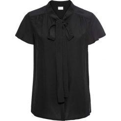 Bluzka z krawatką, krótki rękaw bonprix czarny. Czarne bluzki asymetryczne bonprix, eleganckie, z krótkim rękawem. Za 74,99 zł.