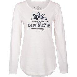 Koszulka w kolorze białym. Białe t-shirty damskie Dreimaster, xs, z nadrukiem, z bawełny, z okrągłym kołnierzem. W wyprzedaży za 85,95 zł.