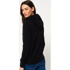 Bluzy rozpinane damskie: Superdry VINTAGE LOGO MONO HOODIE Bluza z kapturem black