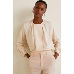Mango - Bluzka Arni. Szare bluzki wizytowe Mango, l, z materiału, eleganckie, z okrągłym kołnierzem, z krótkim rękawem. Za 199,90 zł.