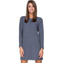 Sukienki balowe: Niebieska Sukienka Elegancka z Plisą na Przodzie