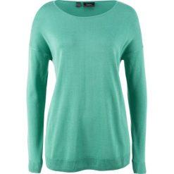 Swetry damskie: Sweter bonprix zielony szałwiowy