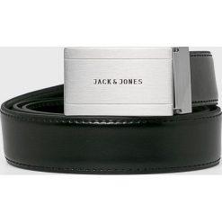 Jack & Jones - Pasek skórzany. Czarne paski męskie marki Jack & Jones, l, z bawełny, z klasycznym kołnierzykiem, z długim rękawem. Za 169,90 zł.
