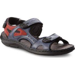 Sandały męskie skórzane: Sandały LASOCKI FOR MEN - MI07-A426-A282-12 Granatowy