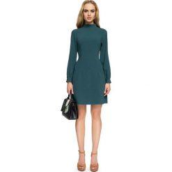 Zielona Wizytowa Sukienka z Tiulowymi Wstawkami. Czarne sukienki koktajlowe marki bonprix, do pracy, w paski, moda ciążowa. Za 138,90 zł.