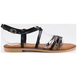Rzymianki damskie: Płaskie sandałki na sprzączkę BELLO STAR czarne
