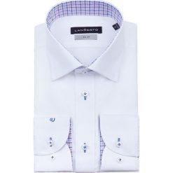 Koszula Biała Almeria Slim. Białe koszule męskie na spinki marki LANCERTO, m, w kolorowe wzory, z bawełny, z kontrastowym kołnierzykiem. Za 299,90 zł.
