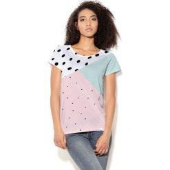 Colour Pleasure Koszulka damska CP-034  28 biało-miętowo-różowa  r.  M-L. T-shirty damskie Colour pleasure, l. Za 70,35 zł.