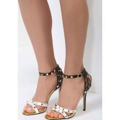 Biało-Czarne Sandały Exemplary. Brązowe sandały damskie marki vices, z materiału, ze szpiczastym noskiem, na wysokim obcasie, na obcasie. Za 79,99 zł.