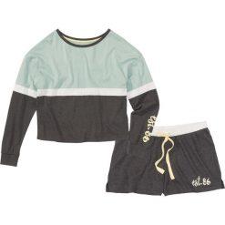 Piżamy damskie: Piżama z krótkimi spodniami bonprix antracytowy melanż – miętowy z nadrukiem