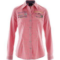 Bluzki damskie: Bluzka ludowa, długi rękaw bonprix biało-czerwony w kratę