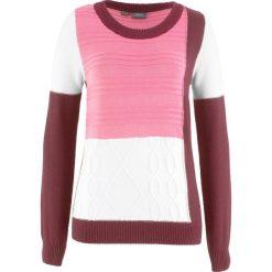 Swetry klasyczne damskie: Sweter z okrągłym dekoltem, w dzianinowy wzór bonprix czerwony klonowy + jaskrawy jasnoróżowy + biel wełny wzorzysty