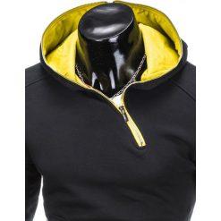 BLUZA MĘSKA Z KAPTUREM B745 - CZARNA. Czarne bluzy męskie rozpinane marki Ombre Clothing, m, z bawełny, z kapturem. Za 69,00 zł.