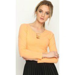 Pomarańczowa Bluzka Louder. Brązowe bluzki asymetryczne Born2be, l, ze sznurowanym dekoltem, z długim rękawem. Za 24,99 zł.