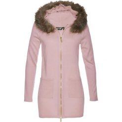 Kardigany damskie: Sweter rozpinany ze sztucznym futerkiem bonprix matowy jasnoróżowy