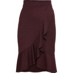 Spódnica kopertowa z elastycznego żakardu bonprix czerwony rubinowy - czarny w kratę. Czerwone spódnice wieczorowe bonprix, z żakardem, kopertowe. Za 89,99 zł.