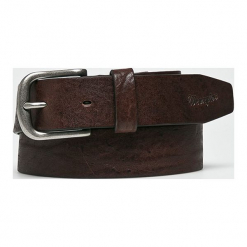Wrangler - Pasek skórzany. Brązowe paski męskie Wrangler, w paski, z materiału. W wyprzedaży za 99,90 zł.