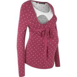 Sweter ciążowy /do karmienia piersią bonprix czerwony rododendron w kropki. Fioletowe swetry klasyczne damskie bonprix, z materiału, z klasycznym kołnierzykiem, moda ciążowa. Za 89,99 zł.