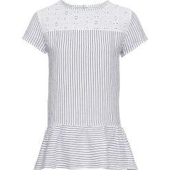 Bluzka lniana w paski bonprix biało-ciemnoniebieski w paski. Białe bluzki z odkrytymi ramionami bonprix, w paski. Za 69,99 zł.