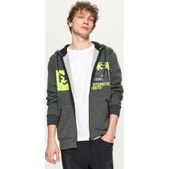 Odzież męska: Bluza hoodie z nadrukiem - Szary