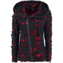Bluzy rozpinane damskie: Gothicana by EMP Ghost in Rags Bluza z kapturem rozpinana damska czarny/czerwony
