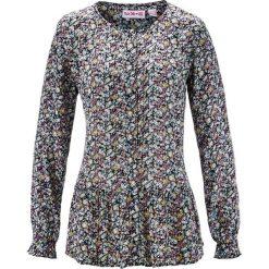 Bluzki damskie: Bluzka z baskinką, długi rękaw, z kolekcji Maite Kelly bonprix czarny w kwiaty