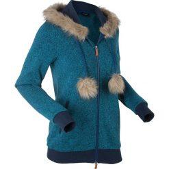 Bluzy polarowe: Bluza dzianinowa z polaru, długi rękaw bonprix ciemnoturkusowy melanż