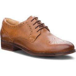 Oxfordy CLARKS - Netley Rose 261351694  Tan Leather. Brązowe jazzówki damskie Clarks, ze skóry, na obcasie. Za 459,00 zł.