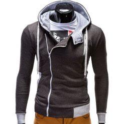BLUZA MĘSKA ROZPINANA Z KAPTUREM B297 - GRAFITOWA. Szare bluzy asymetryczne męskie Ombre Clothing, m, z bawełny, z kapturem. Za 89,00 zł.
