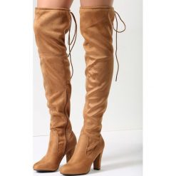 Camelowe Kozaki Get Enough. Brązowe buty zimowe damskie vices, z materiału, z okrągłym noskiem, na wysokim obcasie, na obcasie. Za 119,99 zł.