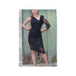 Koronkowa sukienka asymetryczna czarna. Czarne sukienki asymetryczne WOW, l, w koronkowe wzory, z koronki, z asymetrycznym kołnierzem. Za 390,00 zł.
