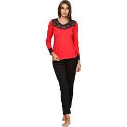 Piżamy damskie: Piżama w kolorze czerwono-czarnym – bluzka, spodnie