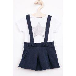 Blukids - Sukienka dziecięca + top 68-98 cm. Białe bluzki dziewczęce bawełniane marki Blukids, z nadrukiem, casualowe. W wyprzedaży za 89,90 zł.
