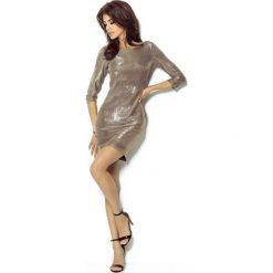 Złota Sukienka Wieczorowa Błyszcząca z Dekoltem na Plecach. Fioletowe sukienki koktajlowe marki Molly.pl, na studniówkę, l, z długim rękawem, dopasowane. Za 139,90 zł.