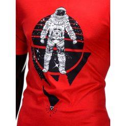 T-shirty męskie: T-SHIRT MĘSKI Z NADRUKIEM S815 – CZERWONY