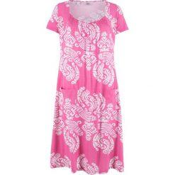 Sukienka shirtowa, krótki rękaw bonprix jasny fuksja wzorzysty. Różowe sukienki mini marki numoco, l, z dekoltem w łódkę, oversize. Za 59,99 zł.