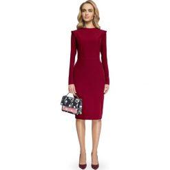 ELDORA Sukienka z nowoczesnymi detalami - bordowa. Czerwone sukienki balowe Stylove, na co dzień, z klasycznym kołnierzykiem, mini, ołówkowe. Za 169,90 zł.