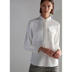 Biała koszula - Kremowy. Szare koszule damskie marki BIALCON, z kopertowym dekoltem. Za 119,99 zł.