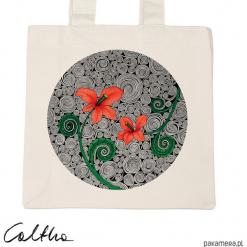 Czerwone kwiaty - torba premium (kolory). Czerwone shopper bag damskie Pakamera, w kwiaty, z materiału. Za 79,00 zł.