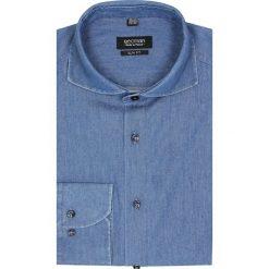 Koszule męskie na spinki: koszula versone 1726 długi rękaw slim fit niebieski