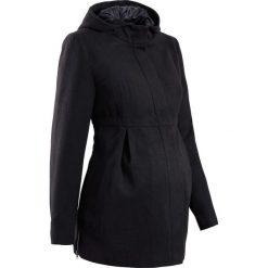 Płaszcz ciążowy z kapturem, z regulacją obwodu bonprix czarny. Czarne kurtki ciążowe bonprix, na jesień. Za 219,99 zł.