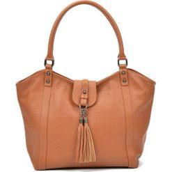 Torebki i plecaki damskie: Skórzana torebka w kolorze jasnobrązowym – (S)30 x (W)45 x (G)12 cm
