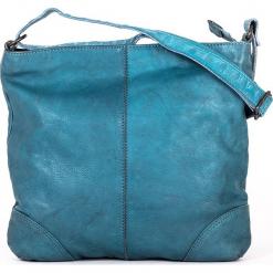 Skórzana torebka w kolorze błękitnym - 27 x 25 x 6 cm. Niebieskie torebki klasyczne damskie neropantera, w paski, z materiału. W wyprzedaży za 272,95 zł.