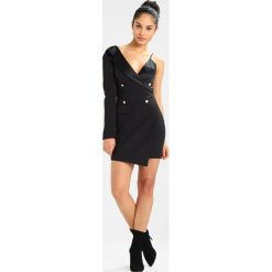 Sukienki hiszpanki: Missguided STRAPPY ONE SHOULDER BLAZER DRESS BLACK Sukienka koktajlowa black