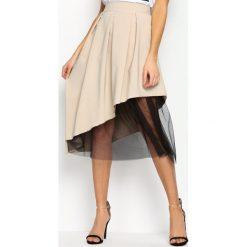 Beżowa Spódnica To Good Effect. Brązowe spódniczki rozkloszowane Born2be, s, w paski, z materiału, z podwyższonym stanem, midi. Za 44,99 zł.