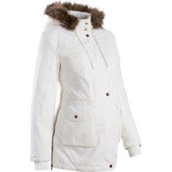 Kurtka ciążowa z kapturem bonprix biel wełny. Białe kurtki ciążowe marki bonprix, z polaru, z kapturem. Za 99,99 zł.