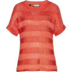Swetry damskie: Sweter ażurowy bonprix pomarańczowo-złoty